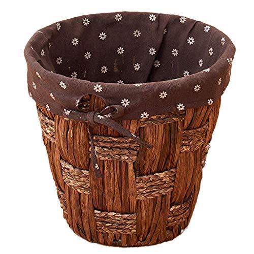 MADHEHAO Cesta de Basura Redonda de ratán, pequeñas cestas de Almacenamiento de Mimbre Tejidas, Papelera Decorativa Cuadrada con Revestimiento, Papelera de Reciclaje de Papelera de Oficina para cafet
