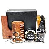 Men's Care Set Beard Care Oil Beard Wax Mahogany L-Shaped Modeling Tool Black Bristle Brush Stainless Steel Beard Scissors