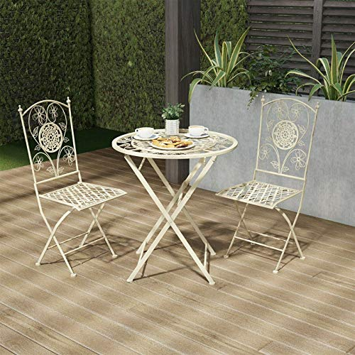ana1store Additional Walkways Lovely Drinking Seat 3pcs White Beautiful Floral Wrought Iron Arch Tables Top 2 Chairs Convenient Curl Kitchen Living Space Wedding Furniture Patio Dining Bistro Sets