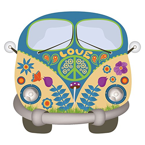easydruck24de Hippie Sticker Flower-Power-Bus I kfz_487 I Peace and Love bunt I Bullli Transporter