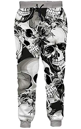 Goodstoworld Men Women Sweatpants Grey Skull Halloween Jogging Pants for Boys Girls Hip Hop Rock Hipster Street Clothing Sports Trousers for Party Club