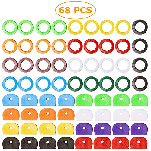 68 Stück Schlüsselkappen, Gummi, Schlüsselringe für Hausschlüssel, verschiedene Farben
