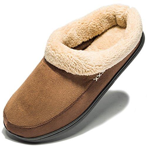 NewDenBer NDB Classic Plüsch Herren Warme Pantoffeln Home rutschfeste Weiche Leicht Hausschuhe (41/42 EU / 8-8.5 US, Dunkelbraun (Dark Brown))
