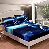 Feelyou 3D Dragon Fitted Sheet for Kids Boys Teens The Legendary Ice Dragon Bed Sheet Set Mysterious Dragon Bedding Set Western Mythology Bed Cover,Bedding Collection 2Pcs Sheets Twin Size