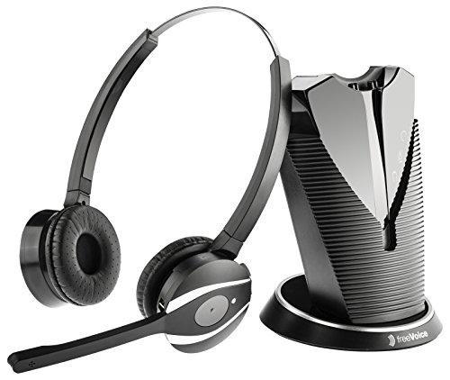 freeVoice Fox Duo NC (DECT, RJ), FX810B, drahtlos für Softphones, schnurloses Profi-Headset mit DECT-Verbindung und online Präsenz Anzeige. EIN professionelles Headset für das Call Center und Büro