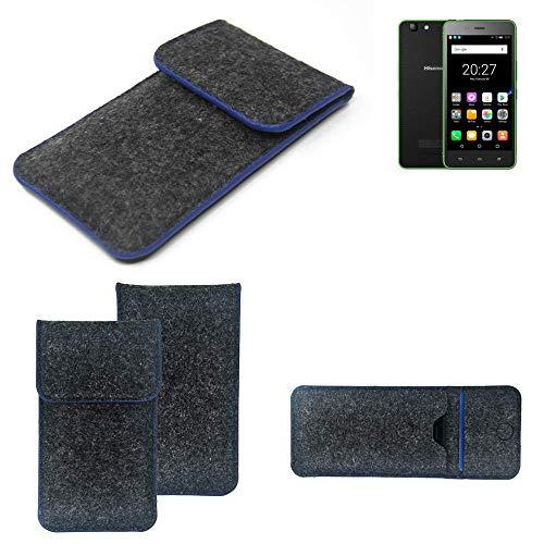 K-S-Trade® Filz Schutz Hülle Für Hisense Rock Lite Schutzhülle Filztasche Pouch Tasche Case Sleeve Handyhülle Filzhülle Dunkelgrau, Blauer Rand