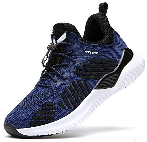 VITIKE Kinder Turnschuhe Jungen Sport Schuhe Mädchen Kinderschuhe Sneaker Outdoor Laufschuhe,8 Schwarz,39 EU