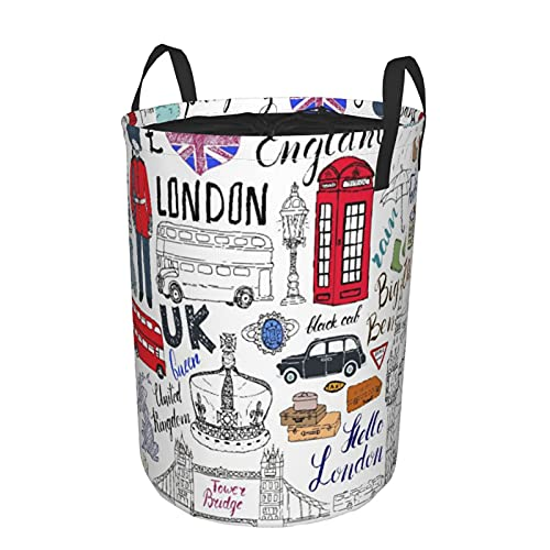 Cesto de lavandería redondo, Decker Bus, cabina telefónica, cabina Crown Of Reino Unido, Big Ben, cesto de lavandería plegable impermeable con cordón,21.6'X16.5'