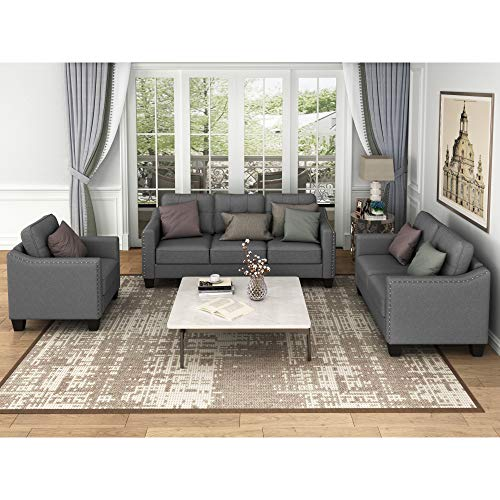 AUKUYEE 3 Psc Living Room Sofa Set 3-seat Couch, Loveseat and Armchair with Rivet Tufted Cushions, Gray
