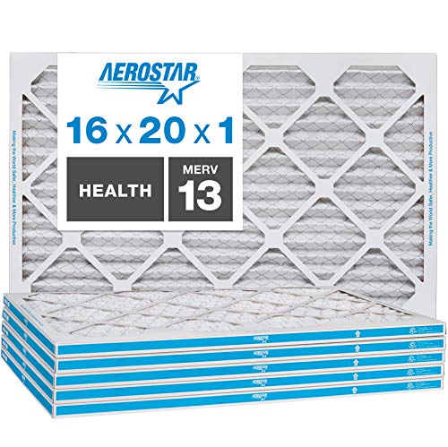 Aerostar Home Max 16x20x1 MERV 13 Pleated Air Filter, Made in the USA, Captures Virus Particles, 6-Pack