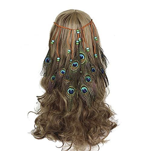Lisansang Damen Blume Stirnband Hippie ethnischen Haarschmuck indische Quaste Kopfschmuck Pfauenfeder Haarband Damen Krone Blume, Damen Hochzeit Kranz, Blume Kro