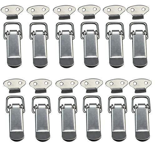 Cierre de palanca, 12 unidades, de acero inoxidable, cierre de tapa con alta sellado, para caja de herramientas, cajón, armario, baúl (plateado)