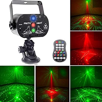 U`King Party Laser Lights with 3 Lens LED Projector Stage Light by Sound Activated Remote Control for DJ Disco Strobe Lighting