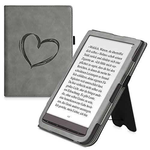 kwmobile Funda Compatible con Pocketbook InkPad 3/3 Pro/Color - Agarre elástico y Soporte de Apoyo - Dibujo de corazón Gris