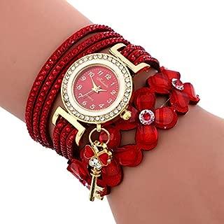 Elegant Watches for Women Fashion Luxury Lady Watch Round Dial Diamond Flower Bracelet Watch with Flower Shape Key Pendant Female Belt Watch (Color : Red)