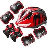 Kaitein 自転車 ヘルメット プロテクターセット 6~14歳子供用 サイズ調整可能 超軽量 保護用ヘルメット 通気穴 肘パッド 膝パッド 手のひら ケガ防止 スケート 安全対策 男女兼用 (頭囲 49cm~54cm未満)