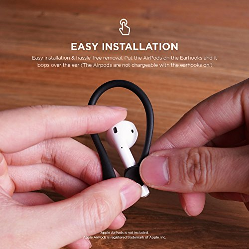 elago Upgraded AirPods Ear Hook Designed for Apple Airpods 1 & 2 and AirPods Pro [ Black ]