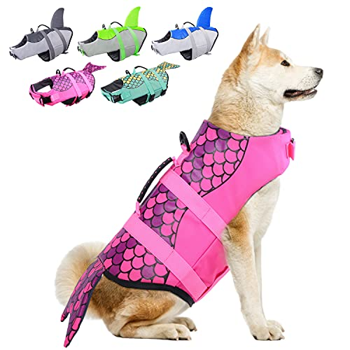 Dog Life Jackets, Ripstop Pet Floatation Life Vest for Small, Middle, Large Size Dogs, Dog Lifesaver Preserver Swimsuit for Water Safety at The Pool, Beach, Boating (Large, Pink Mermaid)
