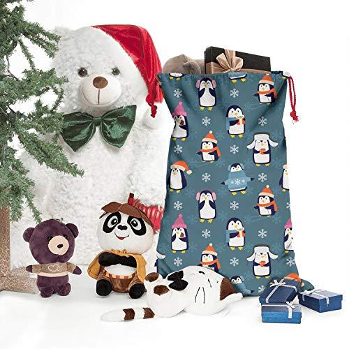 SweaterWg7 Christmas Penguins Playing Santa for Sacks Festival Embellish Present Stylish Drawstring
