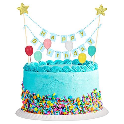 GUARDBIRD ケーキトッパー 7点セット 誕生日ケーキ飾り ケーキ挿入カード ケーキデコレーション 豪華セット HAPPY BIRTHDAY 風船 お誕生日 記念写真 写真撮影 誕生日パーティー 結婚式 お祝い かわいい 男女通用