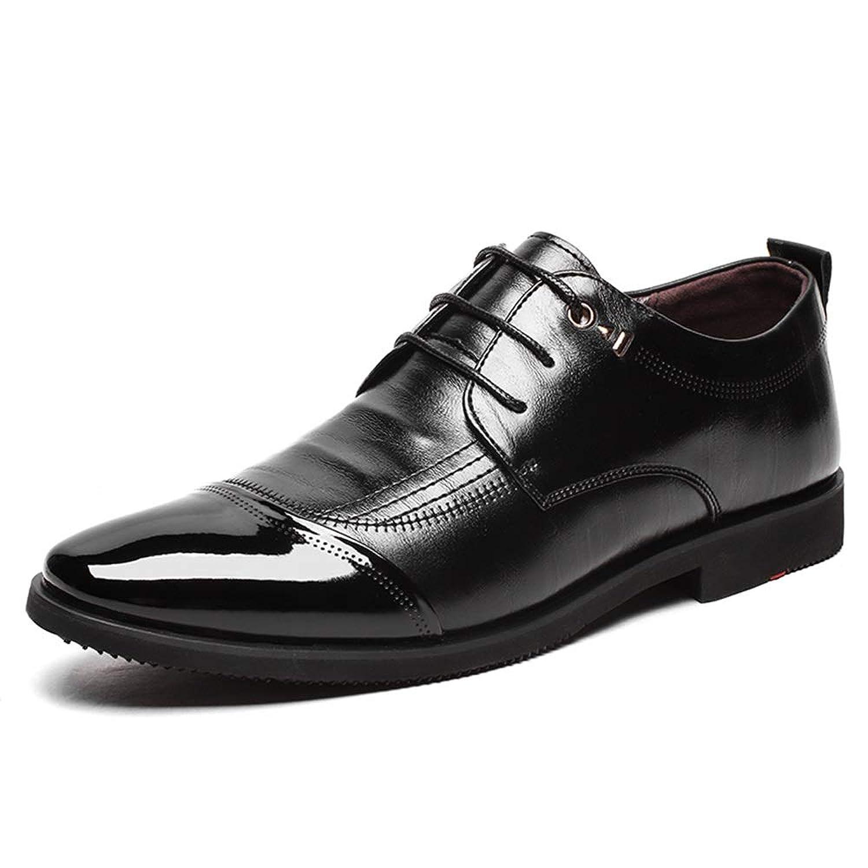男士革靴 メンズフォーマルシューズオックスフォードシューズレースアップマイクロファイバーレザーパッチワークパテントレザートゥ 個性な (Color : ブラック, サイズ : 25.5 CM)