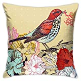 Fundas de Almohada, Fundas para Cojines de Lino Funda de Almohada Hojas de pájaros Florales Funda Cojin Decorativa de Casa para sofá Dormitorio Coche,45x45CM