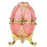 HEEPDD Huevo de Pascua esmaltado, Caja de Abalorios de joyería única con Esmalte Rico y Diamantes de imitación Brillantes almacenar Joyas de Regalo de Lujo para la decoración del hogar