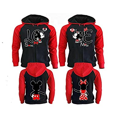 Mickey & Minnie Kissing Disney Couple Hoodies, Matching Couple Hoodies, His And Her Sweatshirts Black - Red Man Medium - Woman 2XL
