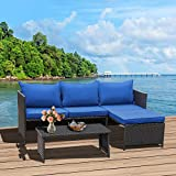 Valita 3-Piece Outdoor PE Rattan Furniture Set Patio Wicker Conversation...