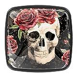 Tiradores cajón cristal 4 piezas perillas gabinete,Cráneo gótico con rosa ,para puerta cocina escritorio tocador