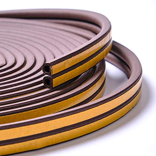 Aurora Miracle Door Seal Strip Kit 50 ft - Brown D-Profile EPDM Door Weatherstrip | Best for Door and Window Insulation to Protect from Weather and Sound (Brown)