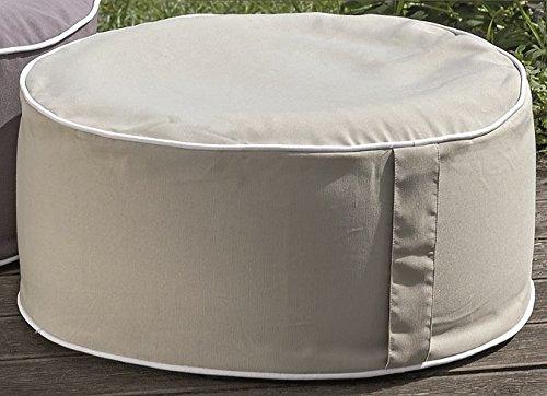 Meinposten Sitzkissen Sitzpouf Pouf Hocker Kissen beige grau Ø 53 cm - aufblasbar - Outdoor (Beige)