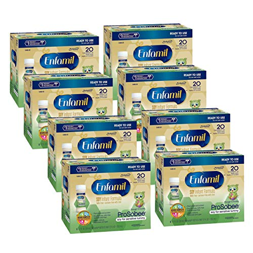 Enfamil ProSobee Soy-Based Infant Formula for Sensitive Tummies, Dairy-Free, Lactose-Free, Milk-Free, Plant-Sourced Protein, Ready to Use Bottles, 2 Fl Oz (6 count) (Pack of 8), Total 48 bottles