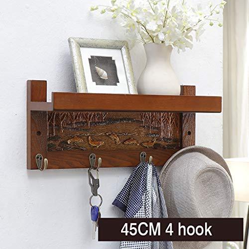 Wall shelf Floating shelf wandrek wit drijvend wandrek met 4/6/7/8 haken boekenrek display-geheugen-rekken hoofddecoratie met kledinghaken, voor ingang, hal, slaapkamer, badkamer, woonkamer 45 cm bruin
