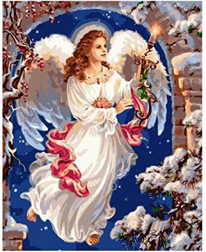 Kxch Ölgemälde malen nach Zahlen Mode Kerze Engel Figur DIY malen nach Zahlen wandkunst Bild acrylmalerei für hauptdekoration DIY Digitale malerei
