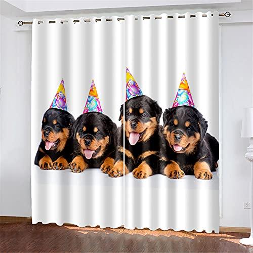 FACWAWF Cortinas Suaves Aislantes del Calor con Forma De Perro Impresas En 3D para Cortinas De Dormitorio Y Sala De Estar De Niños 132x160cm(2pcs)