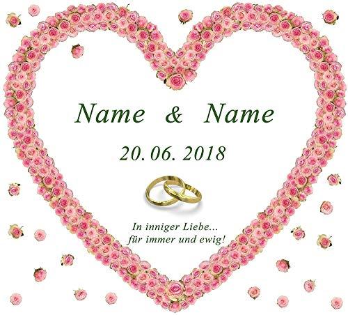Hochzeitsherz zum Ausschneiden für das Hochzeitsspiel oder zur Hochzeitsdekoration – personalisiert mit Namen, Datum und Glückwunschtext in der Sprache Ihrer Wahl