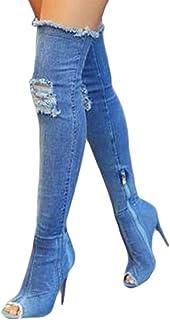 fe0da4e6951cc Amazon.com: Blue - Over-the-Knee / Boots: Clothing, Shoes & Jewelry