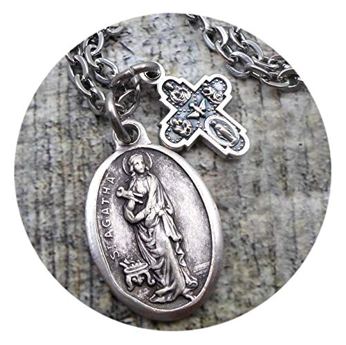 St. Agatha Charm Necklace, Patron Saint of Nurses, Breast Cancer Patients, RN, LPN, Keychain or Purse/Backpack Clip
