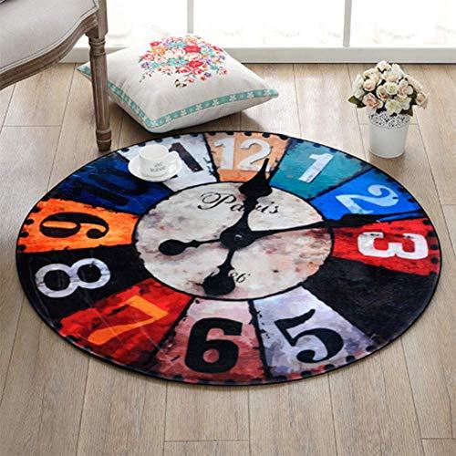 ZHOUAICHENG Vintage wanduhr Druck Stuhl Matte Bereich Teppich Baby Krabbeln teppiche Yoga matten Dekoration große runde Carpet für Wohnzimmer,B,100 * 100cm