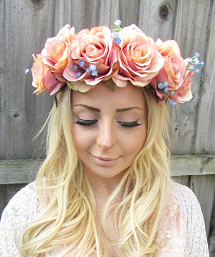 Large Pink Blue Rose Flower Garland Headband Hair Crown Floral Festival Big 1870 *EXCLUSIVELY SOLD BY STARCROSSED BEAUTY*