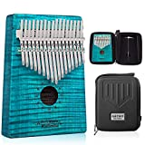 GECKO Kalimba 17 Key Thumb Piano with Hardshell Case Study Instruction Song Book Tuning Hammer for Beginners C Tone Tuned (Blue) …