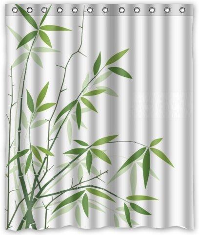 Violetpos Duschvorhänge Bambusblatt Duschvorhang Badezimmer Dekorative 120 x 180 cm