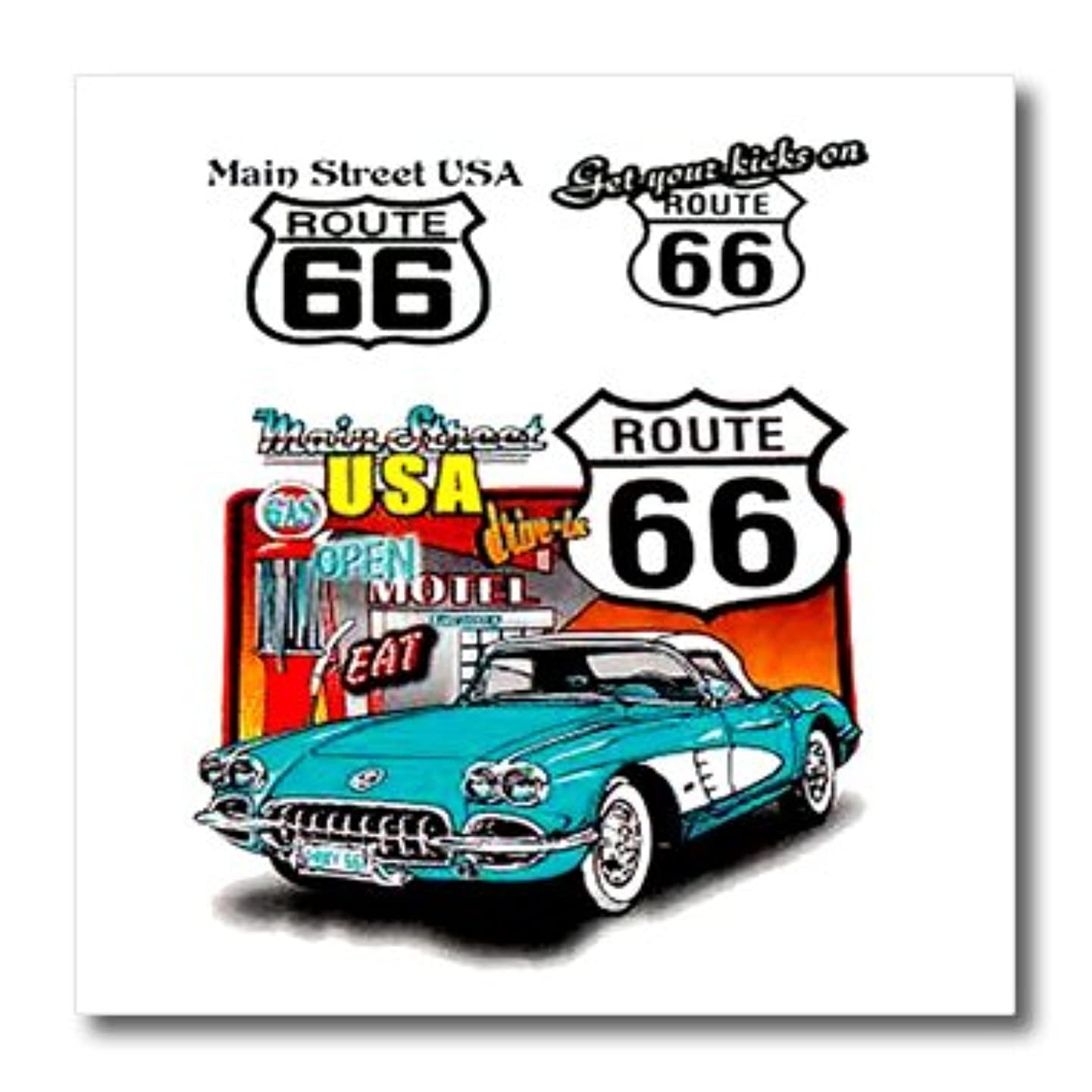 3dRose Route 66 Iron on Heat Transfer for White Material, 10 by 10-Inch