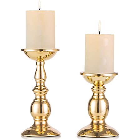 Amazon Com Vincigant Candlestick Holder Pillar Candle Holders For Church Home Dining Room Table Centerpieces Decoration Gold Pack Of 2 Kitchen Dining