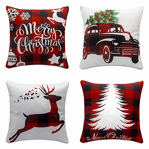 Christmas Pillow Covers 18x18 Set Of 4 Christmas Decor Winter Holiday Decorations