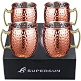 SUPERSUN Moscow Mule Copper Mugs Set of 4, Moscow Mule Mugs Copper Cups 530ml for Cocktail, Gin, Beer, Drinking, Gift Set for Bartender, Bartending, Barware