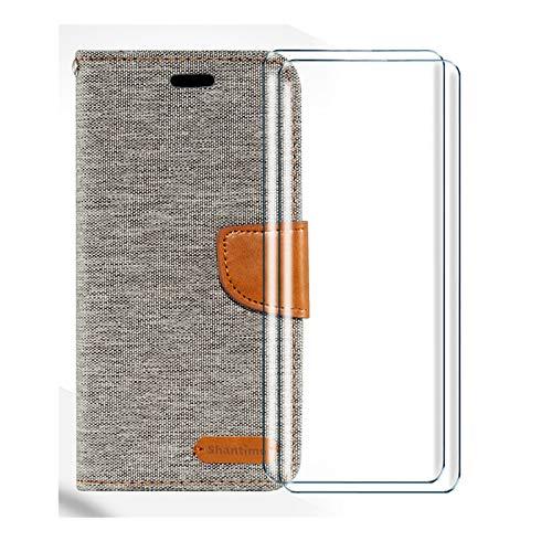 HYMY Denim Hülle für Cubot Max 2 + 2 Pcs Schutzfolie Panzerglas Folie - Lederhülle Flip Schutzhülle Card Slot mit Brieftasche Handyhülle Bookstyle Flip Cover Hülle-Gray