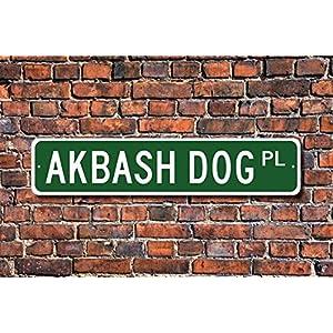"""Fhdang Decor Akbash, Akbash Gift, Akbash Sign, Dog Lover Gift, Custom Street Sign,Metal Sign, 4"""" x 18"""" 24"""