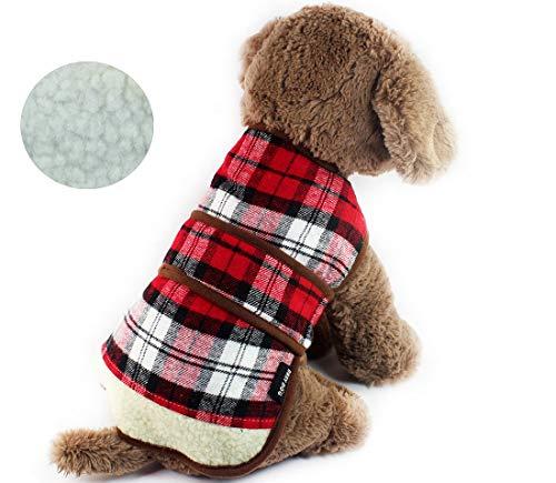 babaydog Abrigo Chaqueta para Perro Modelo Cuadros, Caliente para Mascotas, Cazadora de Invierno con Forro Polar, Ropa para Perro (Rojo, L)